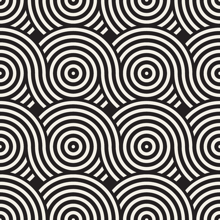 Vector seamless rounded lines texture. Modern geometric circular shape background. Monochrome repeating pattern with arcs. Illustration