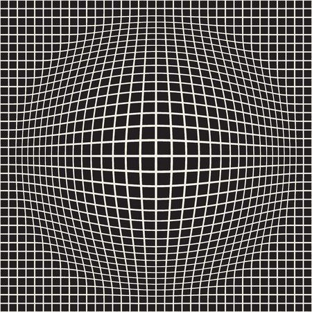 Halftone bloat effect optical illusion. Abstract geometric background design. Vector seamless retro black and white pattern. Stock Photo - 95739897