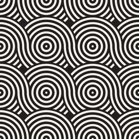 Vector naadloze afgeronde lijnentextuur. Moderne geometrische cirkelvorm achtergrond. Zwart-wit herhalend patroon met bogen.