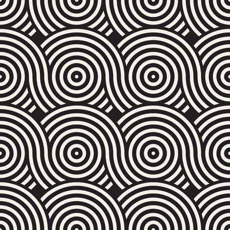 Vector seamless rounded lines texture. Modern geometric circular shape background. Monochrome repeating pattern with arcs. Stockfoto