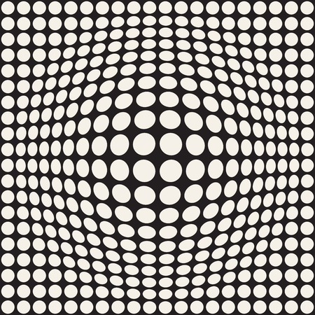 Halftone bloat effect optical illusion. Abstract geometric background design. Vector seamless retro pattern.