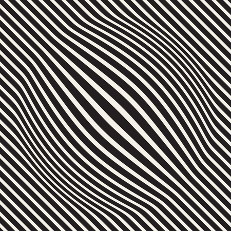 Halftone bloat effect optical illusion. Abstract geometric background design. Vector seamless black and white pattern. Vettoriali