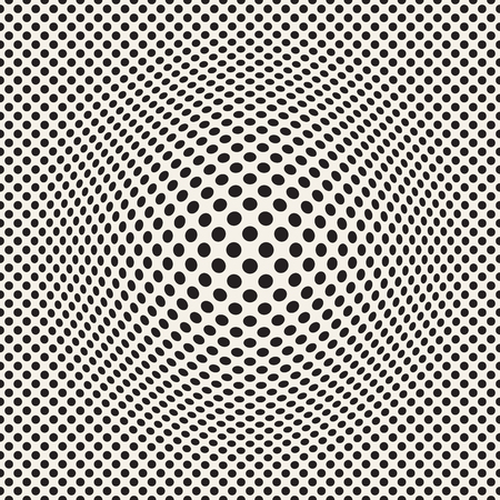 Halftone bloat effect optical illusion. Abstract geometric background design.