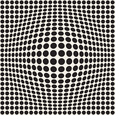 Halftone bloat effect optical illusion. Abstract geometric background design. Vector seamless retro black and white pattern. Stok Fotoğraf - 96178653
