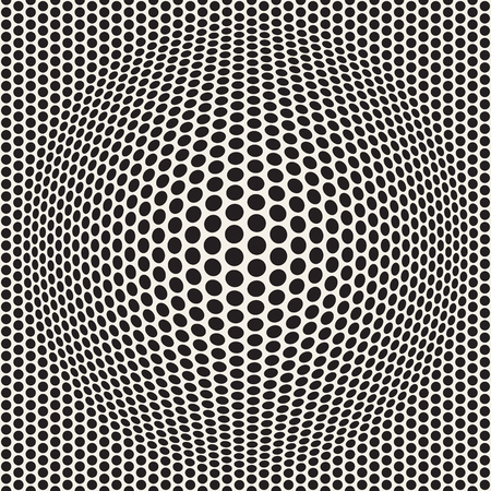 Halftone bloat effect optical illusion. Abstract geometric background design. Vector seamless retro black and white pattern. Stock Vector - 96184709
