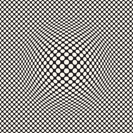 Halftone bloat effect optical illusion. Abstract geometric background design. Vector seamless retro black and white pattern. Stok Fotoğraf - 96191569