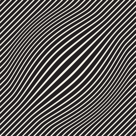 Halftone bloat effect optical illusion. Abstract geometric background design. Vector seamless retro black and white pattern. Stok Fotoğraf - 96191570