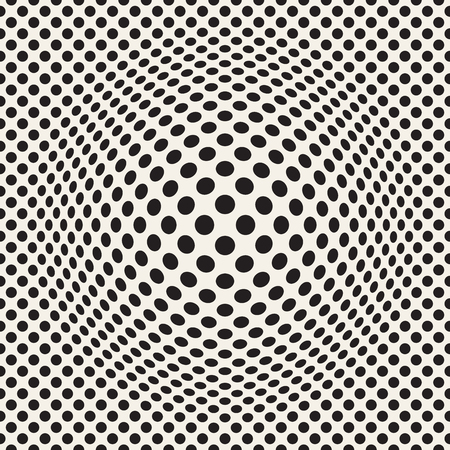 Halftone bloat effect optical illusion. Abstract geometric background design. Vector seamless retro black and white pattern. Çizim