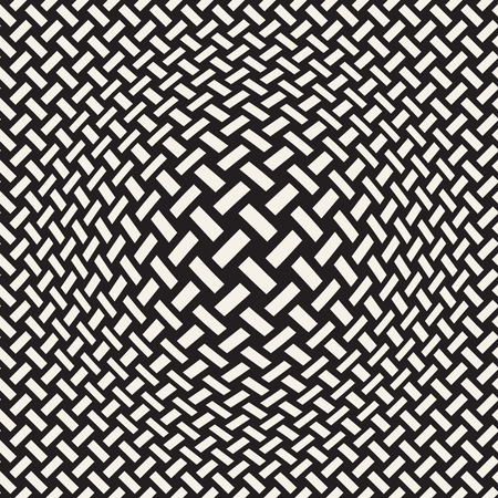 Halftone bloat effect optical illusion. Abstract geometric background design. Vector seamless retro black and white pattern. Stok Fotoğraf - 96251642