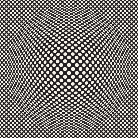 Halftone bloat effect optical illusion. Abstract geometric background design Vector seamless retro pattern..