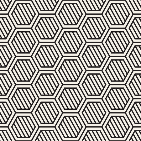 A Vector seamless stripes pattern. Modern stylish texture with monochrome trellis. Repeating geometric hexagonal grid. Simple lattice design. Çizim