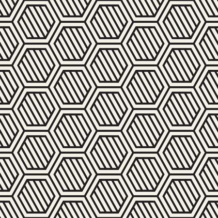A Vector seamless stripes pattern. Modern stylish texture with monochrome trellis. Repeating geometric hexagonal grid. Simple lattice design. Vettoriali