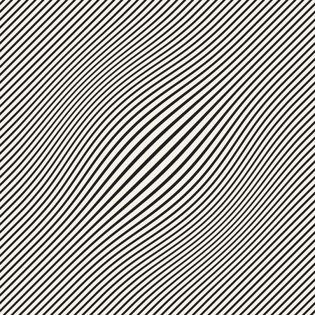 ハーフトーン膨満感効果の錯覚。抽象的な幾何学的背景設計。ベクターシームレスレトロな黒と白のパターン。
