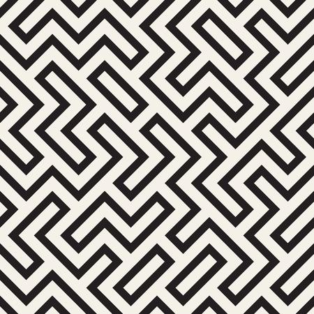 Irregular maze line lattice. Abstract geometric background design. Vector seamless black and white pattern.  イラスト・ベクター素材