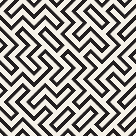 Irregular maze line lattice. Abstract geometric background design. Vector seamless black and white pattern. Ilustração