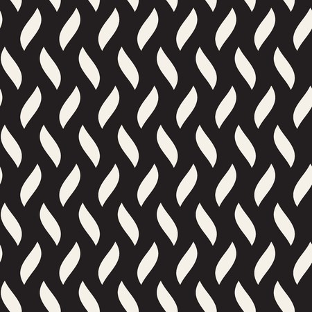 Vector Seamless Black and White Hand Drawn Wavy Lines Simple Pattern
