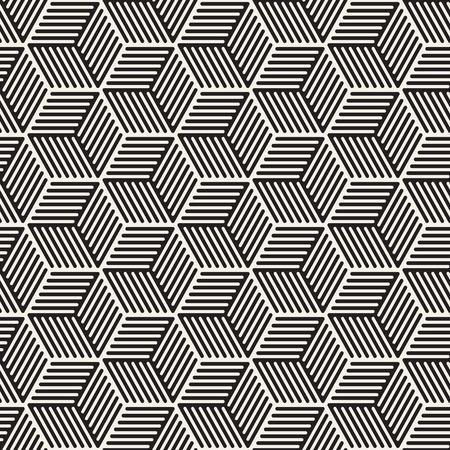 Vector seamless stripes pattern. Modern stylish texture with monochrome trellis. Repeating geometric hexagonal grid. Simple lattice design. Vettoriali