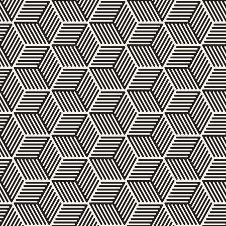 Vector seamless stripes pattern. Modern stylish texture with monochrome trellis. Repeating geometric hexagonal grid. Simple lattice design. Ilustração