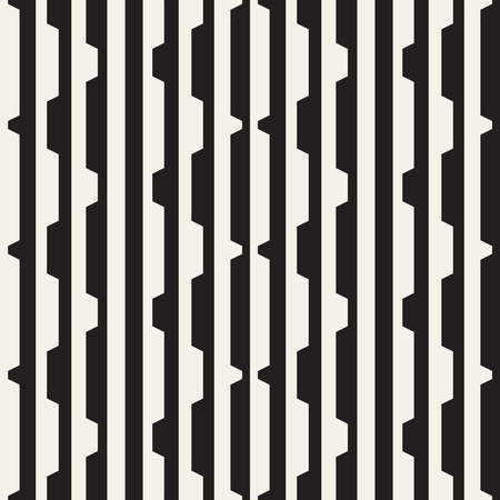 Vector seamless black and white halftone lines pattern. Abstract geometric retro background design. Çizim