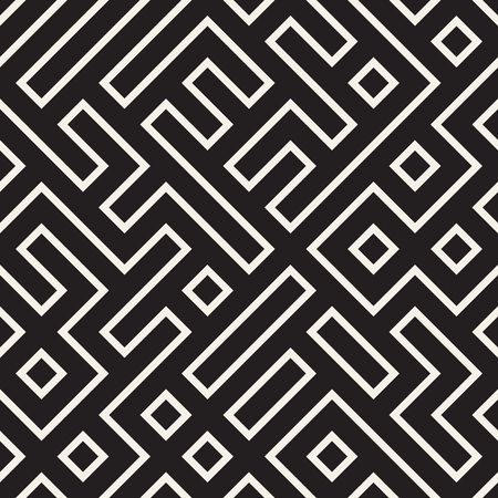 Stylish lines lattice. Ethnic monochrome texture. Abstract geometric background design. Vector seamless pattern.