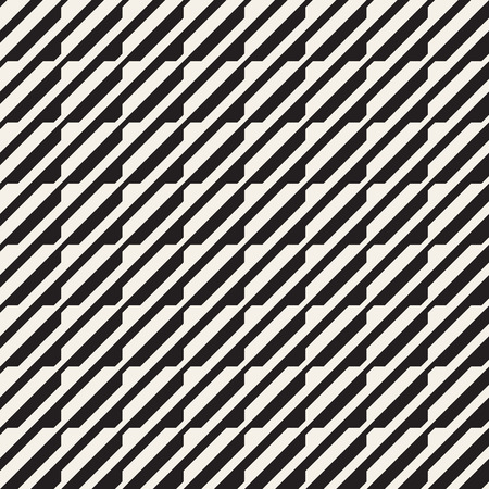 Vector seamless black and white halftone lines grid pattern. Abstract geometric retro background design.  イラスト・ベクター素材