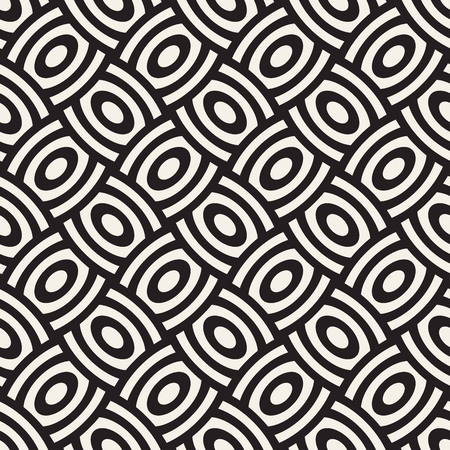Vector geometric seamless pattern with curved shapes grid. Abstract monochrome rounded lattice texture. Modern repeating background design