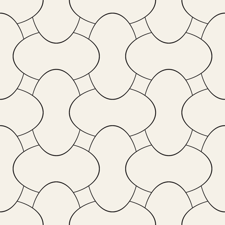 Vector geometric seamless pattern with curved shapes grid. Abstract monochrome rounded lattice texture. Modern repeating textile background design  イラスト・ベクター素材