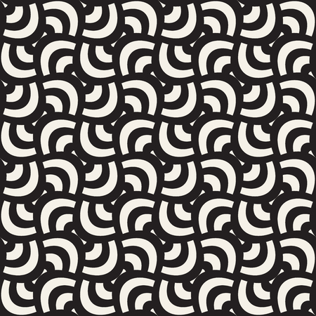 Vector geometric seamless pattern with curved shapes grid. Abstract monochrome rounded lattice texture. Modern repeating textile background design Vectores