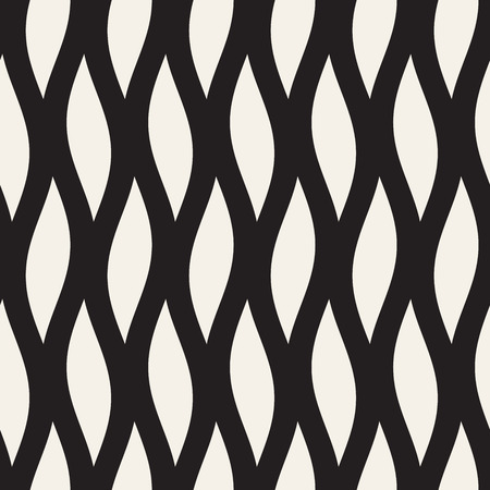 Vector Seamless Black and White Wavy Lines Pattern. Abstract Geometric Background  イラスト・ベクター素材