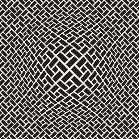 Halftone bloat effect optical illusion. Abstract geometric background design. Vector seamless black and white pattern. Vectores