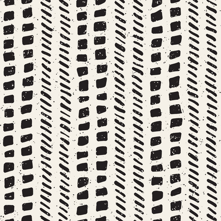 Hand drawn lines seamless grungy pattern. Abstract geometric repeating tile texture in black and white.