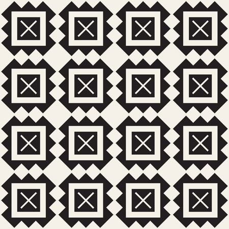 Illustration of a geometric design pattern with squares and crosses