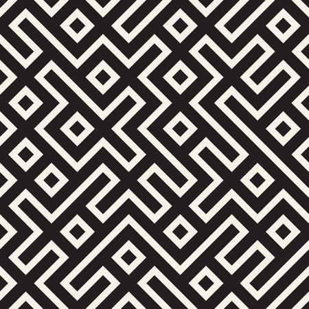 Stylish lines lattice. Ethnic monochrome texture. Abstract geometric background design. Vector seamless pattern.