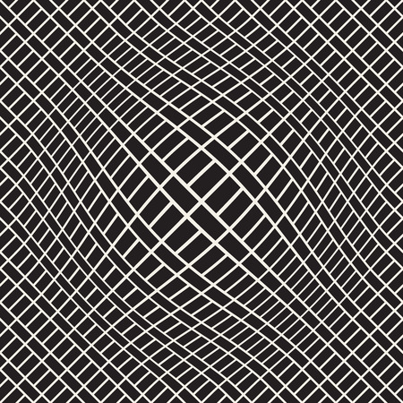 Halftone bloat effect optical illusion. Abstract geometric background design vector seamless black and white pattern. Çizim