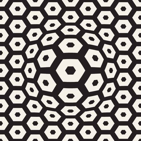 Halftone bloat effect optical illusion. Abstract geometric background design vector seamless retro pattern.