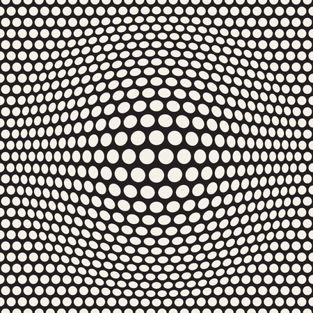 Halftone bloat effect optical illusion in black and white.