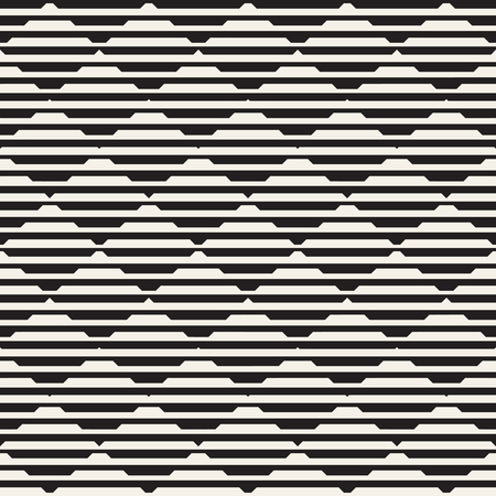 Vector seamless black and white halftone lines grid pattern. Abstract geometric retro background design. Ilustração