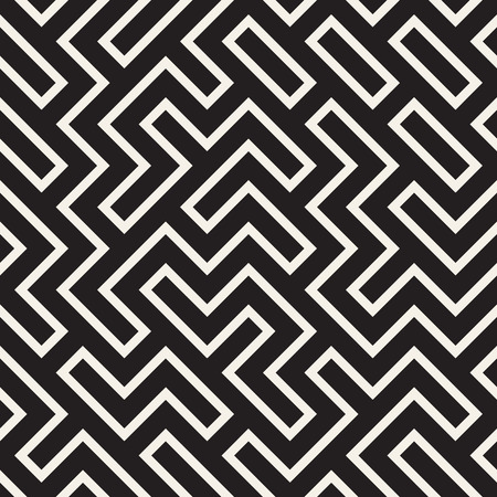 Stylish lines lattice. Ethnic monochrome texture. Abstract geometric background design vector seamless black and white pattern.