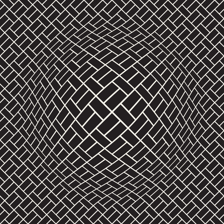 Halftone bloat effect optical illusion. Abstract geometric background design vector seamless retro black and white pattern.