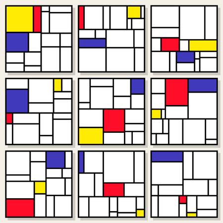 Set Of Nine Vector Square Compositions in Piet Mondrian De Stijl Style Painting Design Illustration