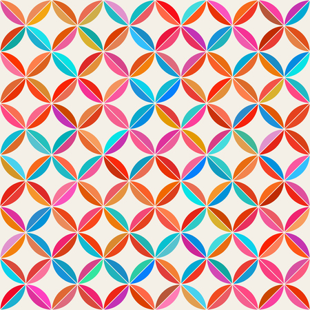 Vector Seamless Colorful Circle Star Quilt Tiling Pattern on Light Abstract Background Illustration
