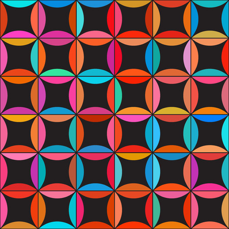 Vector Seamless Colorful Circle Star Quilt Tiling Pattern on Dark Background Abstract Background