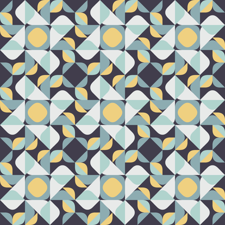 A Vector Seamless Geometric Square Triangle Circle Shapes Yellow Blue Quilt Pattern Abstract Background