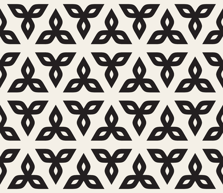 A Vector Seamless Black And White Floral Rounded Triangle Petals Pattern Abstract Background