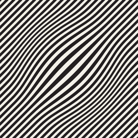 Halftone bloat effect optical illusion. Abstract geometric background design. Vector seamless retro black and white pattern. Vettoriali