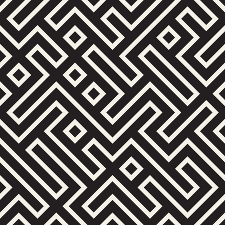 Stylish lines lattice. Ethnic monochrome texture. Abstract geometric background design. Vector seamless black and white pattern.