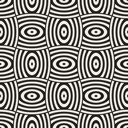 Vector geometric seamless pattern with curved shapes grid. Abstract monochrome rounded lattice texture. Modern repeating textile background design 免版税图像