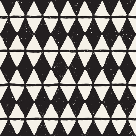 Hand drawn style abstract seamless pattern in black and white. Retro grunge freehand jagged lines texture.