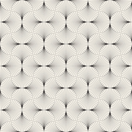 Vector seamless vintage pattern of overlapping arcs in art deco style. Modern stylish abstract texture. Repeating geometric tiles from striped elements Reklamní fotografie - 101873427