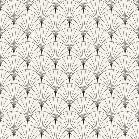 アートデコスタイルでオーバーラップアークのベクターシームレスヴィンテージパターン。モダンでスタイリッシュな抽象的なテクスチャ。ストライプ要素からジオメトリタイルを繰り返す